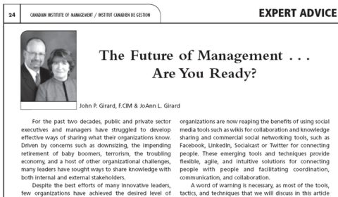 The Future of Management . . . Are you Ready?